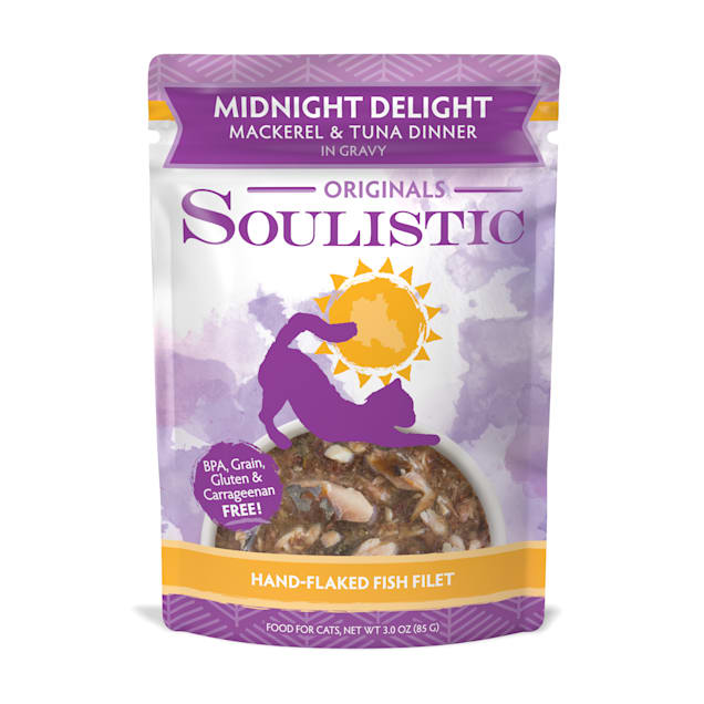 Soulistic Originals Midnight Delight Mackerel & Tuna Dinner in Gravy Wet Cat Food, 3 oz., Case of 8 - Carousel image #1
