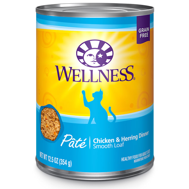 Wellness Complete Health Natural Grain Free Chicken & Herring Pate Wet Cat Food, 12.5 oz., Case of 12 - Carousel image #1
