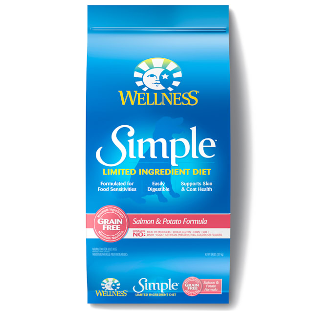 Wellness Simple Natural Grain Free Limited Ingredient Salmon and Potato Recipe Dry Dog Food, 24 lbs - Carousel image #1