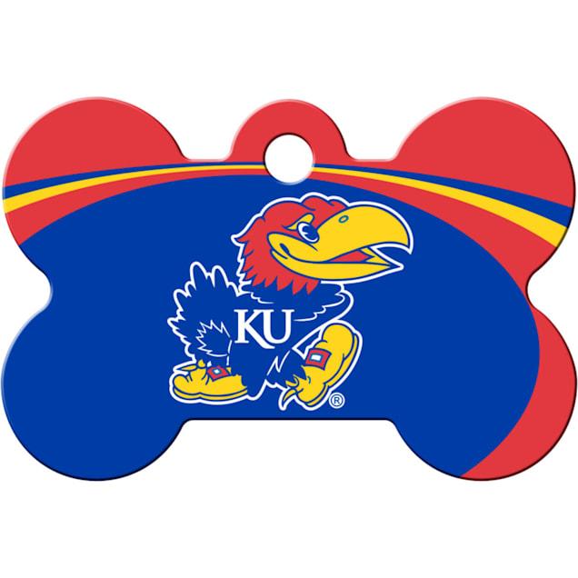 Quick-Tag Kansas Jayhawks NCAA Bone Personalized Engraved Pet ID Tag - Carousel image #1