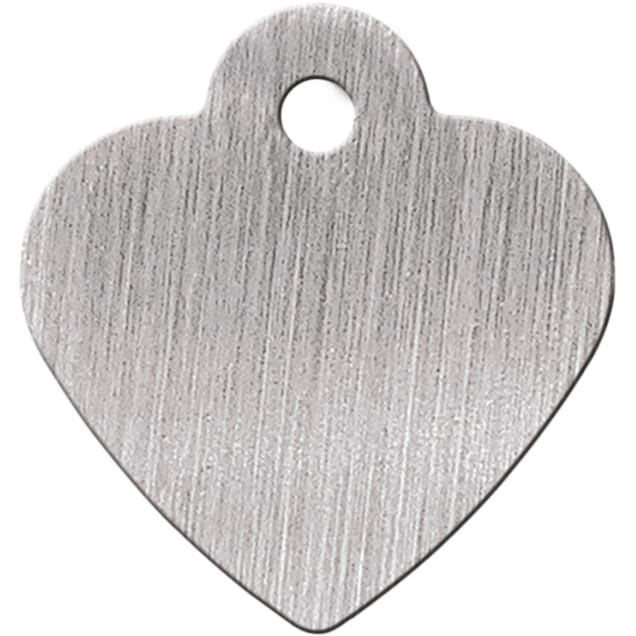 Quick-Tag Small Brushed Chrome Heart Personalized Engraved Pet ID Tag - Carousel image #1