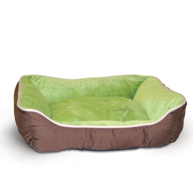 "K&H Mocha & Green Self-Warm Lounge Sleeper Self Warming Pet Bed, 20"" L x 16"" W - Carousel image #1"