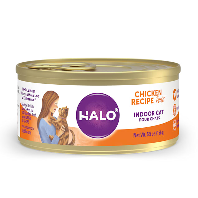 Halo Indoor Grain Free Chicken Recipe Pate Canned Cat Food, 5.5 oz., Case of 12 - Carousel image #1