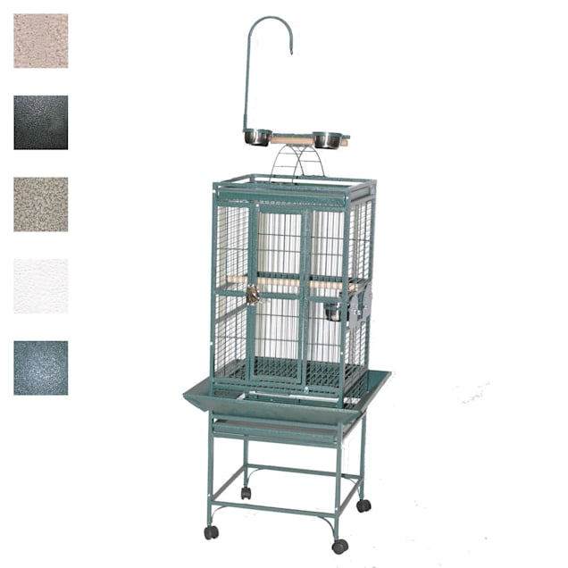 """A&E Cage Company 18"""" X 18"""" Play Top Bird Cage in White - Carousel image #1"""