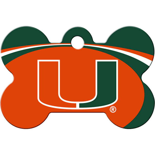 """Quick-Tag Miami Hurricanes NCAA Bone Personalized Engraved Pet ID Tag, 1 1/2"""" W X 1"""" H - Carousel image #1"""