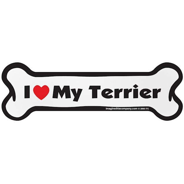 "Imagine This ""I Love My Terrier"" Bone Car Magnet - Carousel image #1"