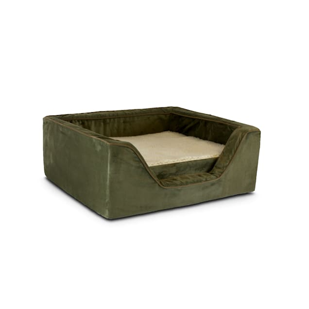 """Snoozer Luxury Square Bed with Memory Foam in Olive with Coffee Cording, 27"""" L x 23"""" W - Carousel image #1"""