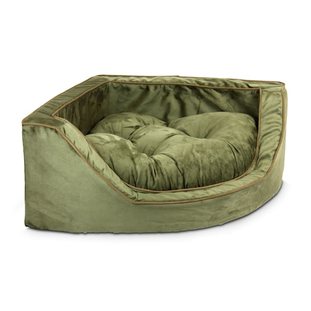 """Snoozer Luxury Corner Bed in Olive with Coffee Cording, 29"""" L x 29"""" W - Carousel image #1"""