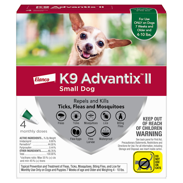 K9 Advantix II Topical Small Dog Flea & Tick Treatment, Pack of 4 - Carousel image #1