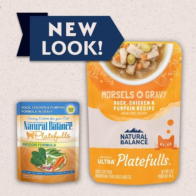 Natural Balance Platefulls Duck, Chicken & Pumpkin Formula in Gravy Adult Cat Food, 3 oz., Case of 24 - Carousel image #1