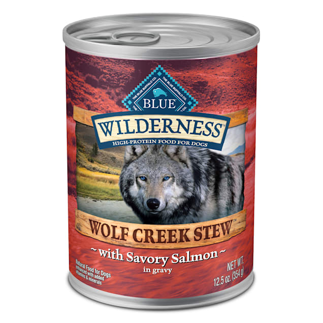 Blue Buffalo Blue Wilderness Wolf Creek Stew Savory Salmon in Gravy Adult Wet Dog Food, 12.5 oz., Case of 12 - Carousel image #1