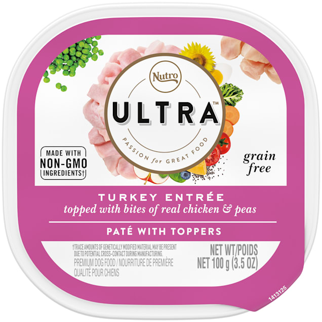 Nutro Ultra Grain Free Protein Boost Turkey Entree Topped With Bites of Real Chicken & Peas Wet Dog Food, 3.5 oz., Case of 24 - Carousel image #1