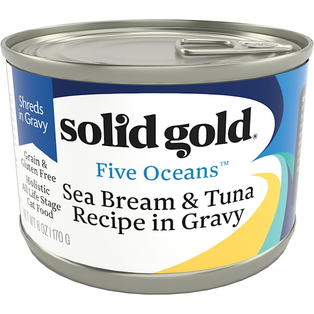 Solid Gold Five Oceans Sea Bream & Tuna Grain Free Canned Cat Food, 6 oz., Case of 8 - Carousel image #1