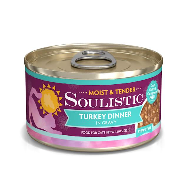 Soulistic Moist & Tender Turkey Dinner in Gravy Wet Cat Food, 3 oz., Case of 12 - Carousel image #1