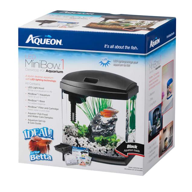 Aqueon 1 Gallon MiniBow LED Desktop Fish Aquarium Kit, Black - Carousel image #1