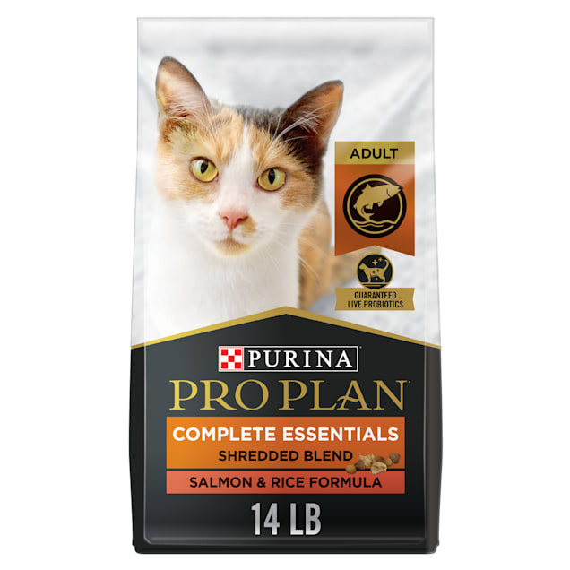 Purina Pro Plan With Probiotics Shredded Blend Salmon & Rice Formula Dry Cat Food, 14 lbs. - Carousel image #1