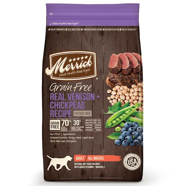 Merrick Grain Free Real Venison + Chickpeas Dry Dog Food, 4 lbs. - Carousel image #1