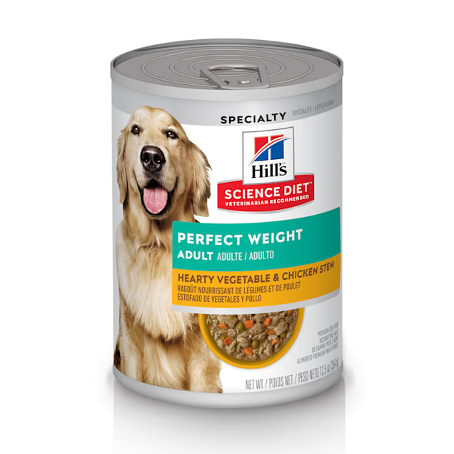 Hill's Science Diet Adult Perfect Weight Hearty Vegetable & Chicken Stew Canned Dog Food, 12.5 oz., Case of 12 - Carousel image #1