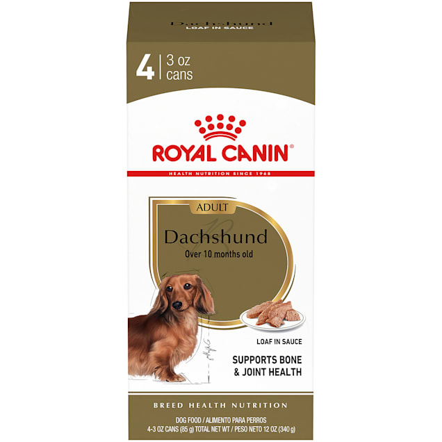 Royal Canin Breed Health Nutrition Dachshund Loaf In Sauce Wet Dog Food Multipack, 3 oz., Pack of 4 - Carousel image #1