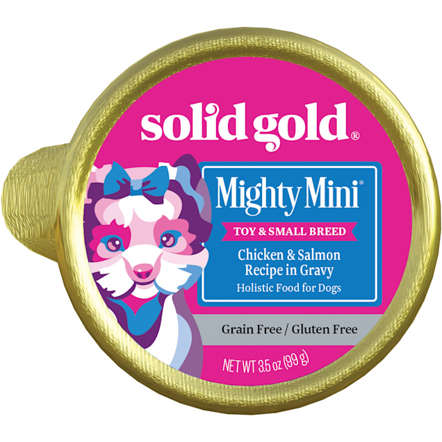 Solid Gold Mighty Mini Chicken & Salmon Grain and Gluten Free Wet Dog Food, 3.5 oz., Case of 12 - Carousel image #1