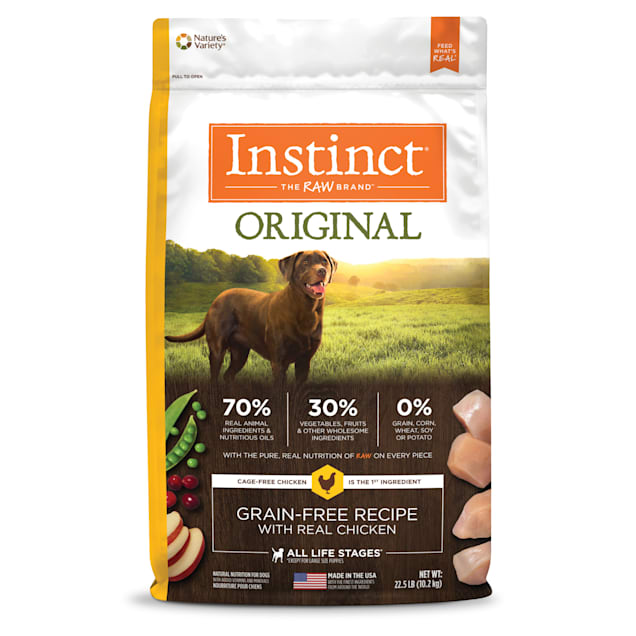 Instinct Original Grain-Free Recipe with Real Chicken Freeze-Dried Raw Coated Dry Dog Food, 22.5 lbs. - Carousel image #1
