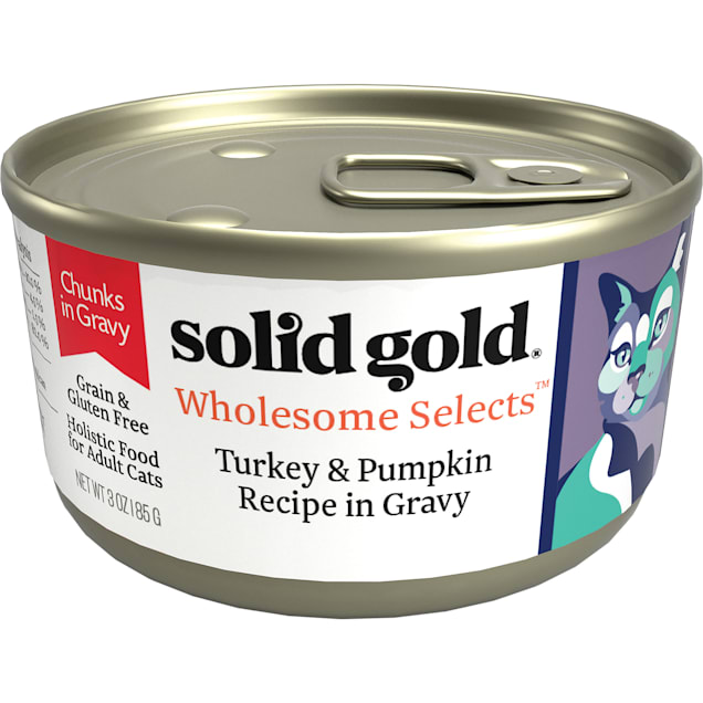 Solid Gold Wholesome Selects Turkey & Pumpkin in Gravy Holistic Grain Free Canned Kitten & Adult Cat Food, 3 oz., Case of 12 - Carousel image #1