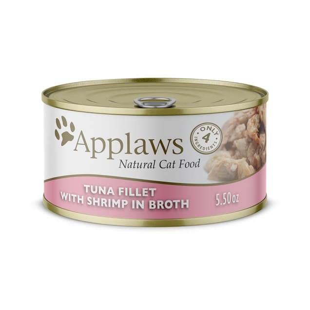 Applaws Tuna Fillet with Shrimp Canned Wet Cat Food, 5.5 oz., Case of 24 - Carousel image #1