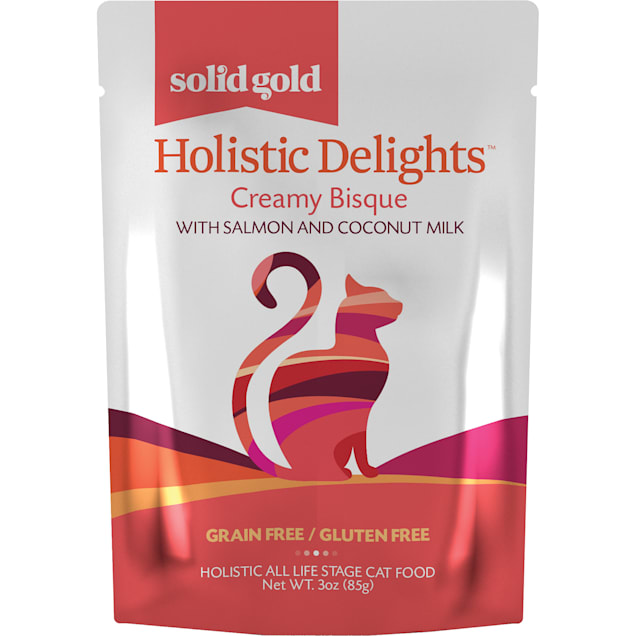 Solid Gold Holistic Delights Creamy Bisque Grain Free Wet Cat Food, Salmon and Coconut Milk, 3 oz., Case of 12 - Carousel image #1