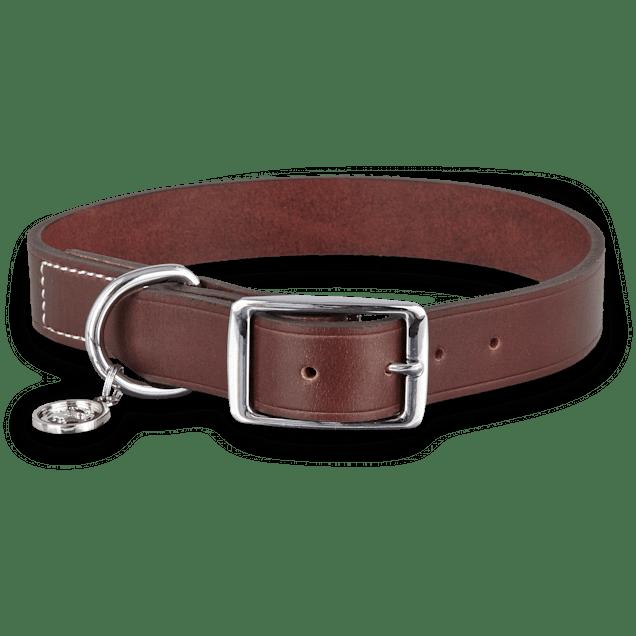 Bond & Co. Mahogany Leather Dog collar,  For Neck Sizes 18-21, Large/Extra Large - Carousel image #1