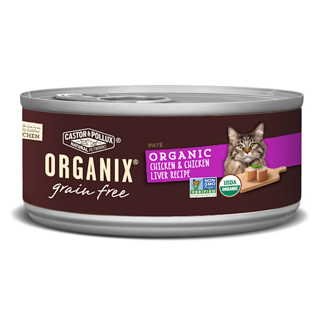 Castor & Pollux Organix Grain Free Organic Chicken & Chicken Liver Pate Wet Cat Food, 5.5 oz., Case of 24 - Carousel image #1