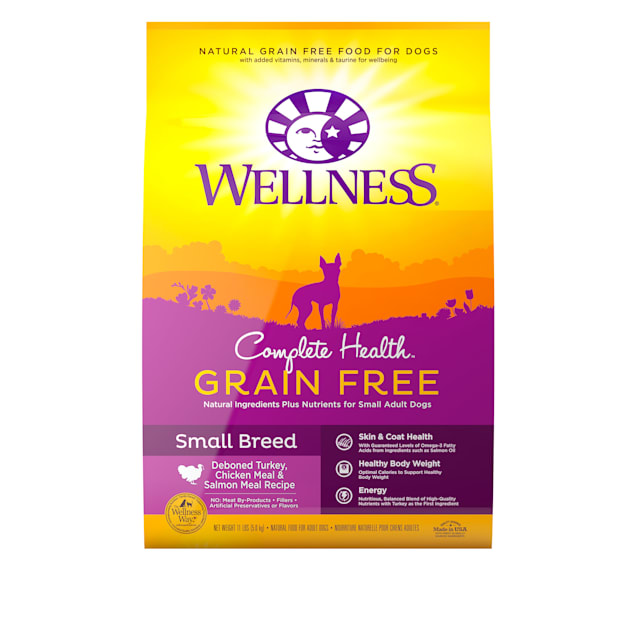 Wellness Complete Health Grain Free Small Breed Deboned Turkey, Chicken Meal & Salmon Meal Recipe Dry Dog, 11 lbs. - Carousel image #1