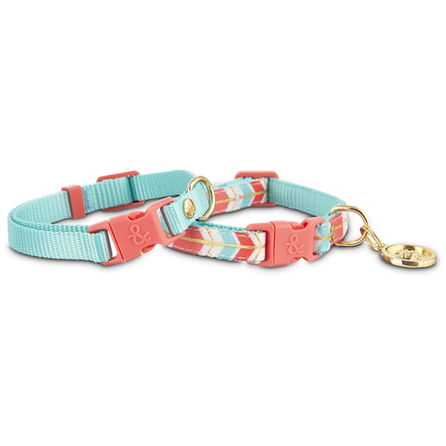 Bond & Co. 2 Pack Turquoise & Coral Collars for Small Dogs, XS/S - Carousel image #1