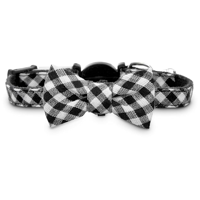 Bond & Co. Black Gingham Bow Tie Kitten Collar, X-Small/XX-large - Carousel image #1