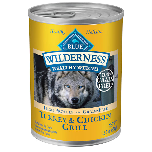 Blue Buffalo Blue Wilderness Healthy Weight Turkey & Chicken Grill Adult Wet Dog Food, 12.5 oz., Case of 12 - Carousel image #1