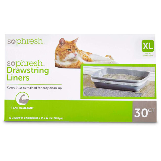 "So Phresh Drawstring Cat Litter Box Liners 19"" L x 36"" W, 30 CT - Carousel image #1"