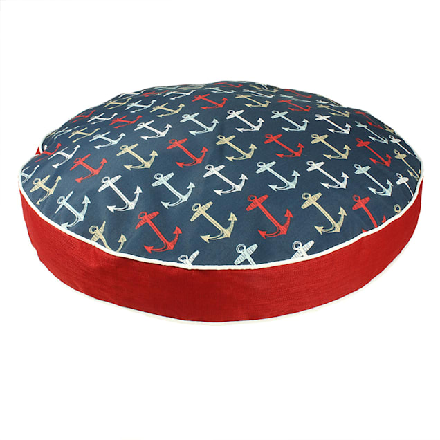 """Snoozer Indoor Outdoor Round Dog Bed in Anchor Pattern, 42"""" L x 42"""" W - Carousel image #1"""