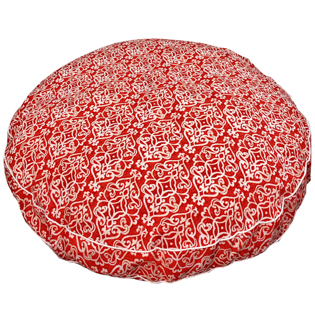 """Snoozer Indoor Outdoor Round Dog Bed in Gondola Salmon Pattern, 42"""" L x 42"""" W - Carousel image #1"""