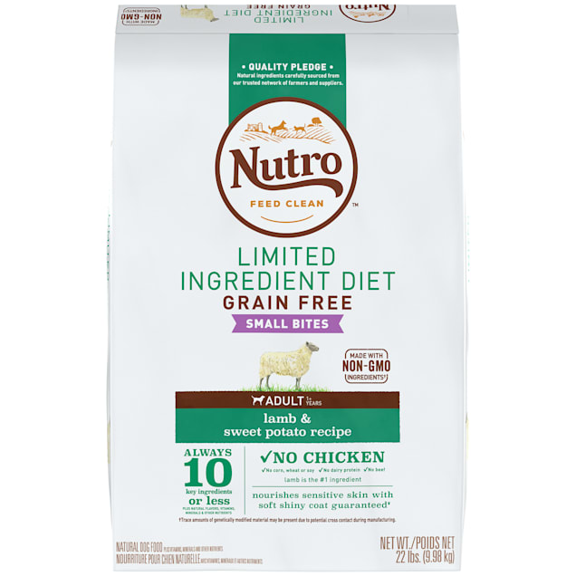 Nutro Limited Ingredient Diet Small Bites Lamb & Sweet Potato Recipe Dry Adult Dog Food, 22 lbs. Bag - Carousel image #1