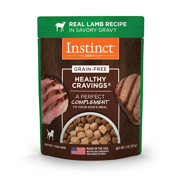 Instinct Healthy Cravings Grain-Free Cuts & Gravy Real Lamb Recipe in Savory Gravy Wet Dog Food, 3 oz., Case of 24 - Carousel image #1