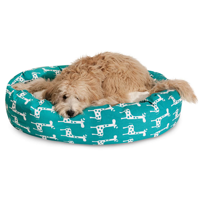 """Majestic Pet Stretch Turquoise Sherpa Bagel Dog Bed, 40"""" L x 29"""" W - Carousel image #1"""