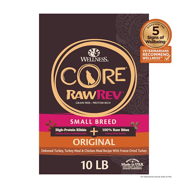Wellness CORE RawRev Natural Grain Free Original Turkey & Chicken w/ Freeze Dried Turkey Small Breed Dry Dog Food, 10 lbs. - Carousel image #1