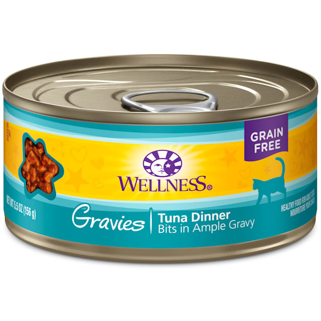 Wellness Complete Health Natural Canned Grain Free Gravies Tuna Dinner Wet Cat Food, 5.5 oz., Case of 12 - Carousel image #1