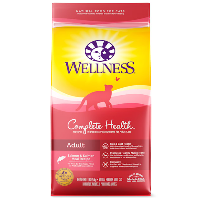 Wellness Complete Health Natural Adult Salmon & Salmon Meal Recipe Dry Cat Food, 6 lbs. - Carousel image #1
