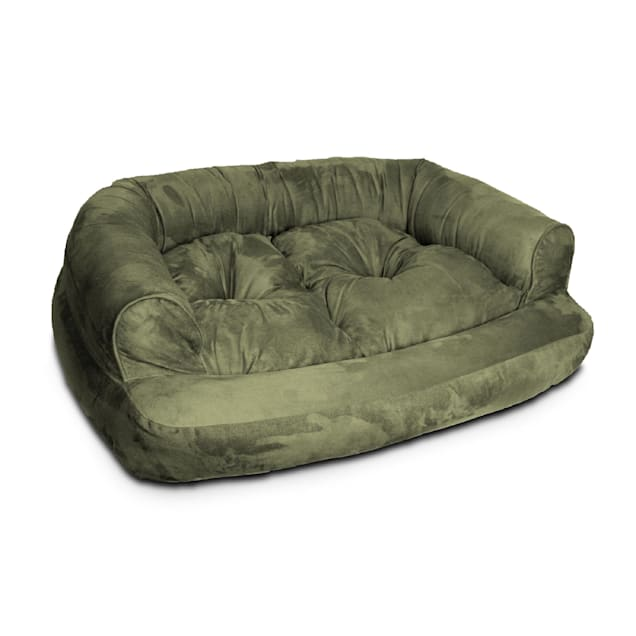 """Snoozer Luxury Micro Suede Overstuffed Pet Sofa in Olive, 30"""" L x 40"""" W - Carousel image #1"""