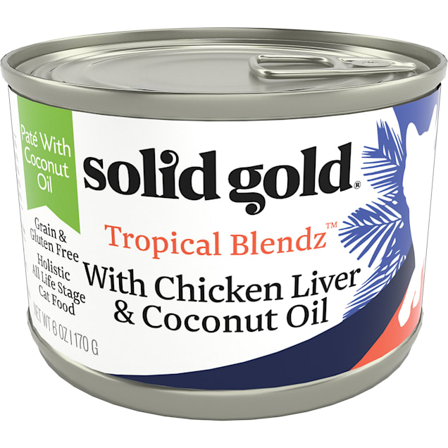 Solid Gold Tropical Blendz Chicken Liver & Coconut Oil Pate Wet Cat Food, 6 oz., Case of 8 - Carousel image #1