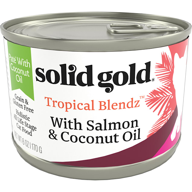 Solid Gold Tropical Blendz Salmon & Coconut Oil Pate Cat Food, 6 oz., Case of 8 - Carousel image #1
