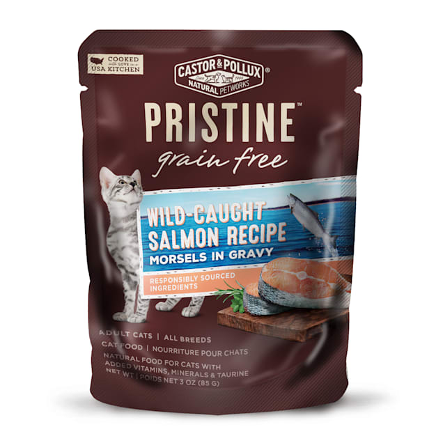 Castor & Pollux Pristine Grain Free Wild-Caught Salmon Recipe Wet Cat Food Pouches, 3 oz., Case of 24 - Carousel image #1