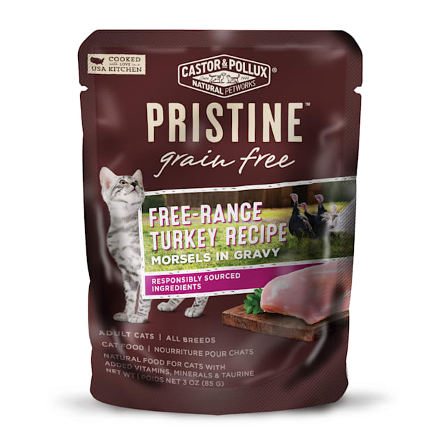 Castor & Pollux Pristine Grain Free Free-Range Turkey Recipe Wet Cat Food Pouches, 3 oz., Case of 24 - Carousel image #1