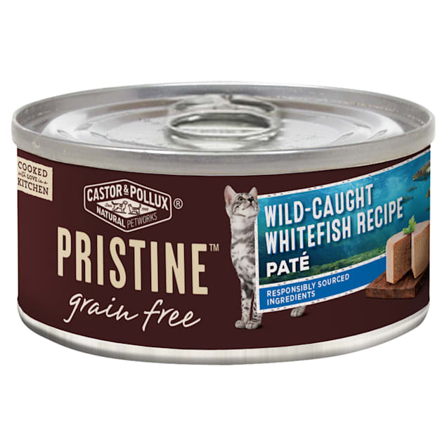 Castor & Pollux Pristine Grain Free Wild-Caught Whitefish Pate Recipe Canned Wet Cat Food, 5.5 oz., Case of 24 - Carousel image #1
