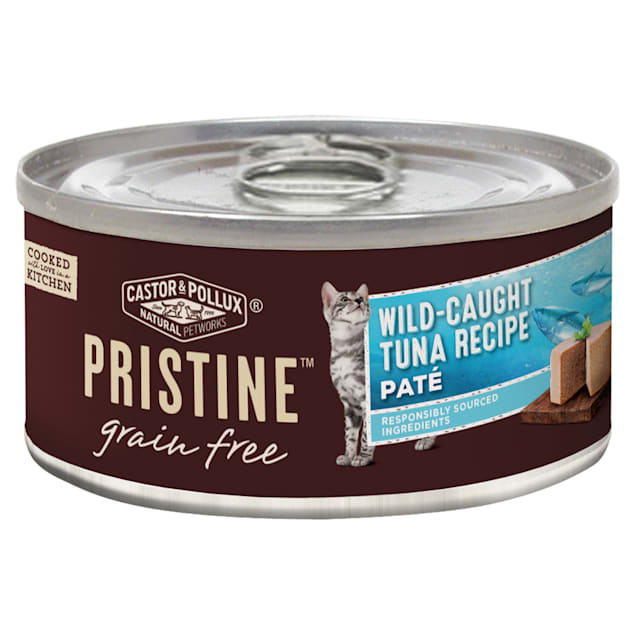 Castor & Pollux Pristine Grain Free Wild-Caught Tuna Recipe Canned Wet Cat Food, 5.5 oz., Case of 24 - Carousel image #1